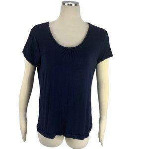 Navy Large 12 14 Nautical Rope Collar Stretch Top